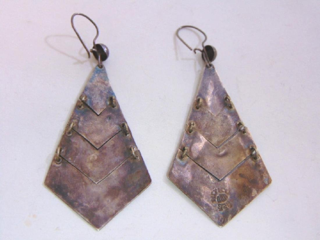 Womens Vintage Sterling Silver Earrings w/ Abalone - 2
