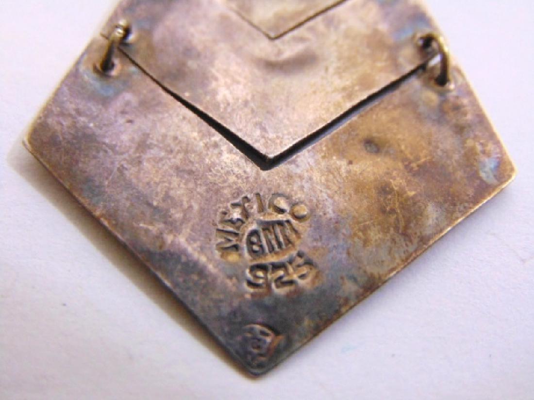 Womens Vintage Sterling Silver Earrings w/ Abalone - 3