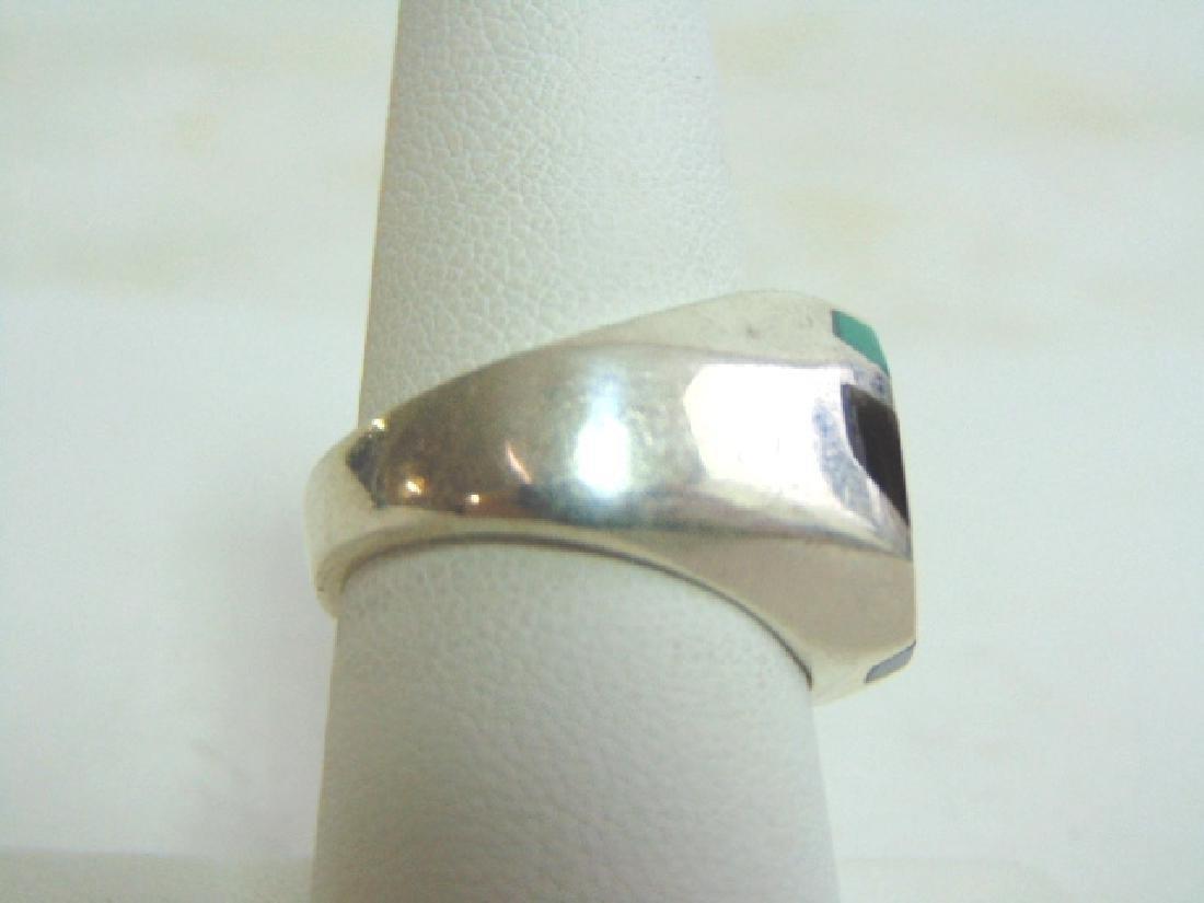 Mens Vintage Sterling Silver Ring w/ Malachite & Onyx - 2