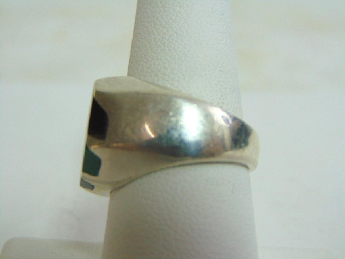 Mens Vintage Sterling Silver Ring w/ Malachite & Onyx - 3