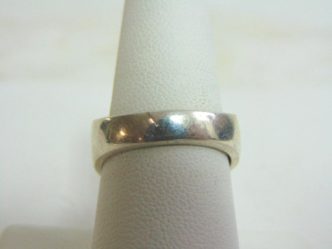 Mens Vintage Sterling Silver Ring w/ Malachite & Onyx - 4