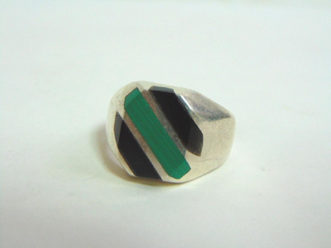 Mens Vintage Sterling Silver Ring w/ Malachite & Onyx - 5