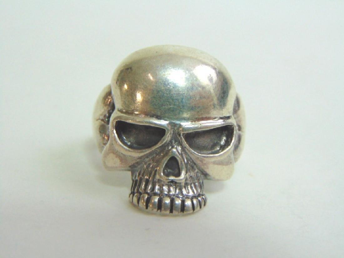 Mens Estate Sterling Silver Gothic Skull Ring 13.5g