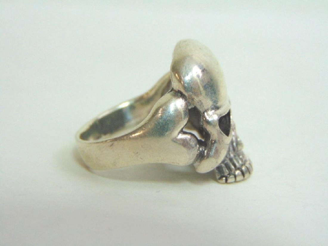 Mens Estate Sterling Silver Gothic Skull Ring 13.5g - 2