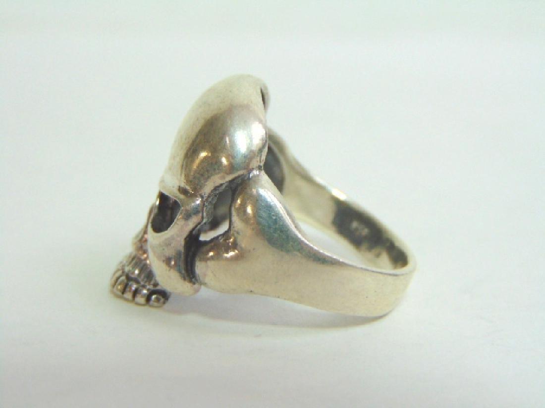 Mens Estate Sterling Silver Gothic Skull Ring 13.5g - 3