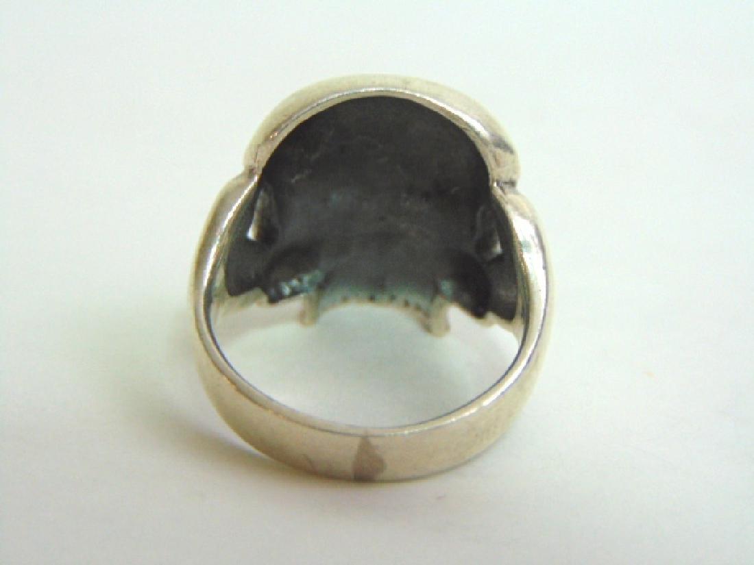 Mens Estate Sterling Silver Gothic Skull Ring 13.5g - 4