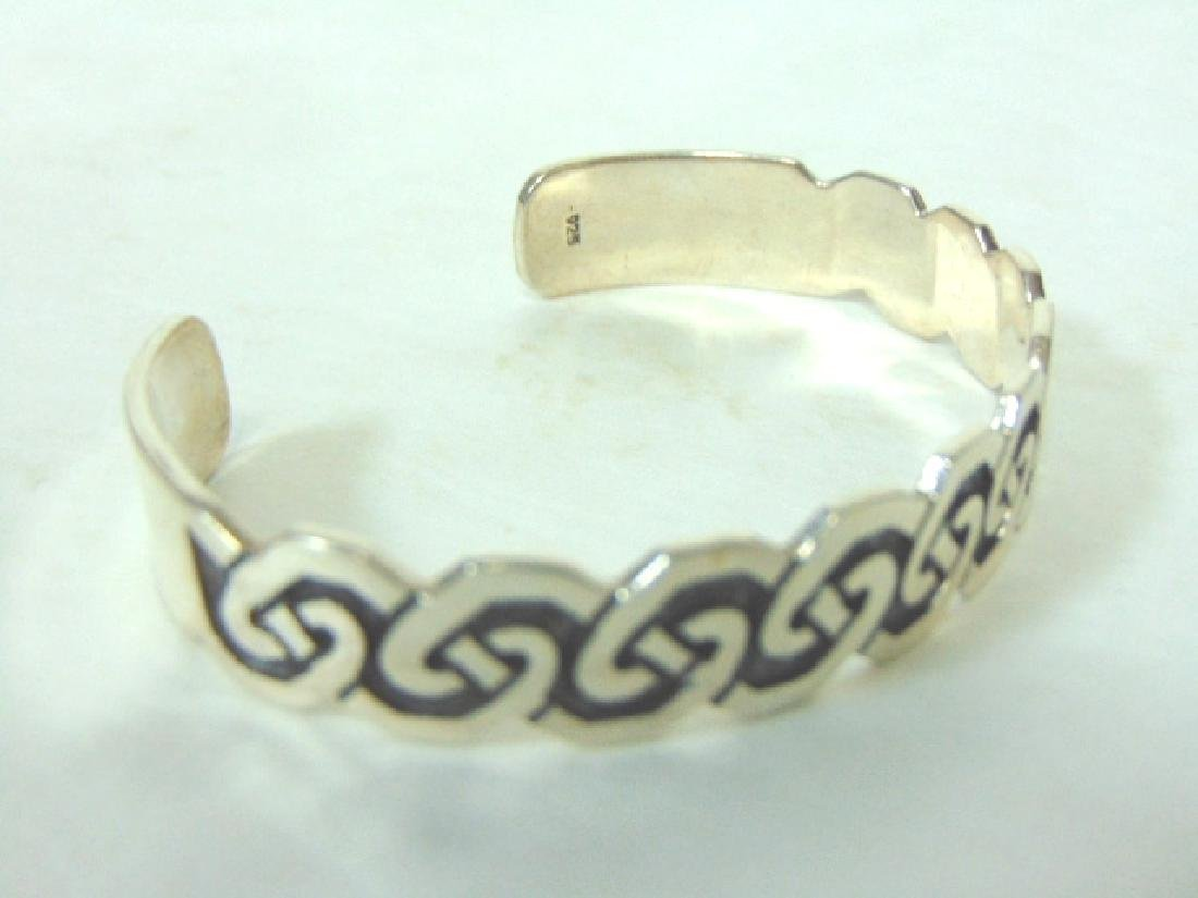 Womens Vintage Estate Sterling Silver Cuff Bracelet - 3
