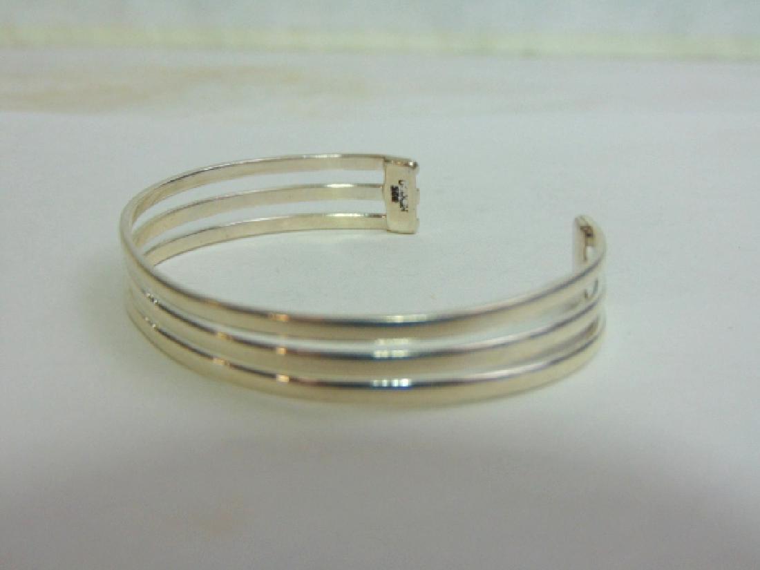 Womens Vintage Estate Sterling Silver Cuff Bracelet - 2