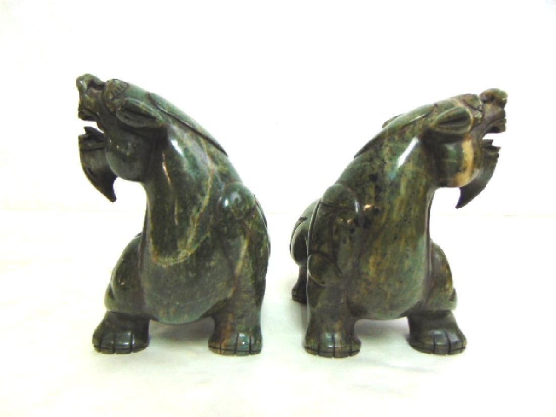 PR VINTAGE CHINESE CARVED HARD STONE FOO DOG LIONS - 2