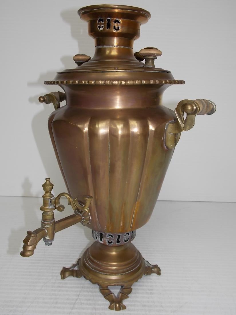 ANTIQUE BRASS RUSSIAN SAMOVAR COFFEE POT - 3