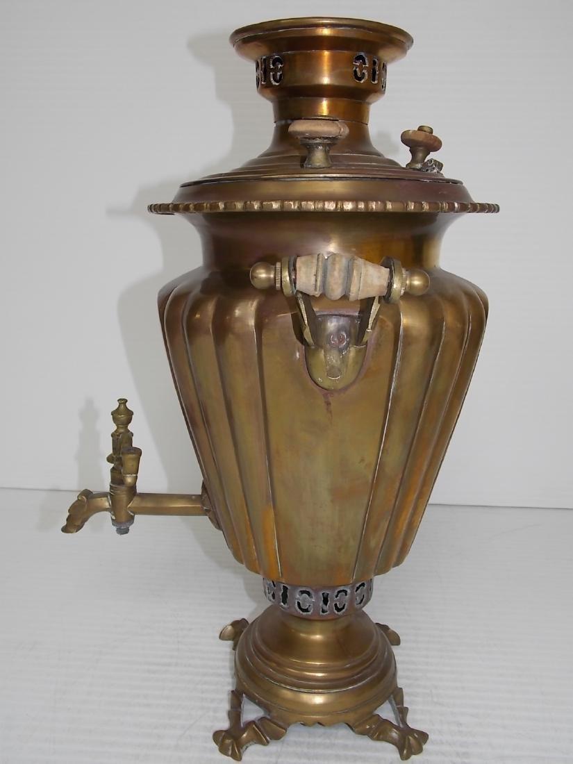 ANTIQUE BRASS RUSSIAN SAMOVAR COFFEE POT - 4