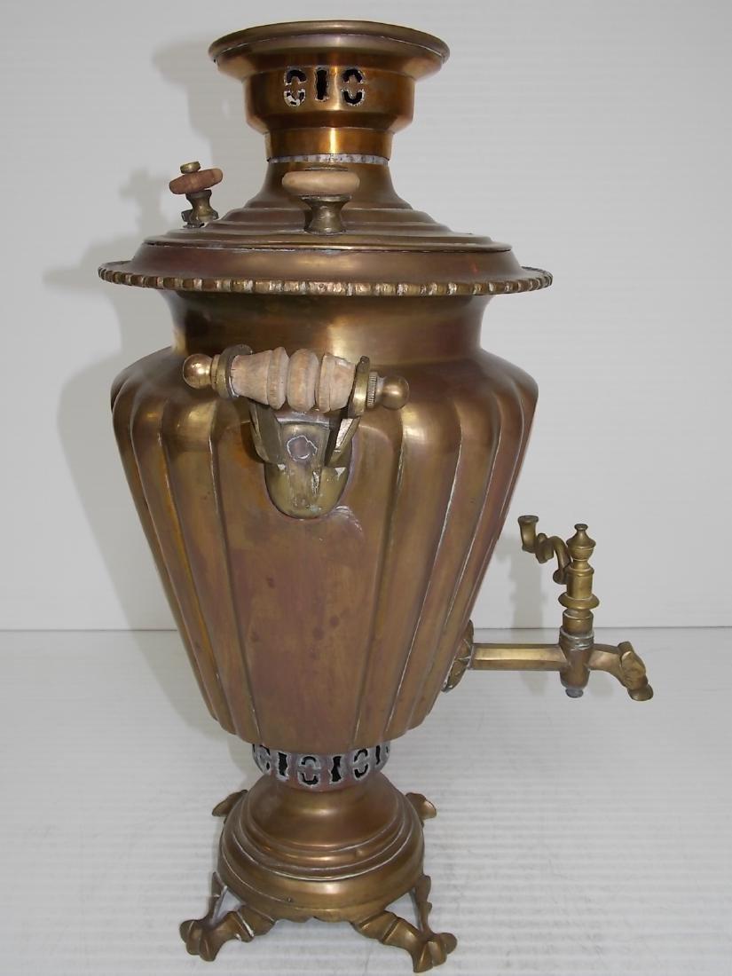 ANTIQUE BRASS RUSSIAN SAMOVAR COFFEE POT - 5