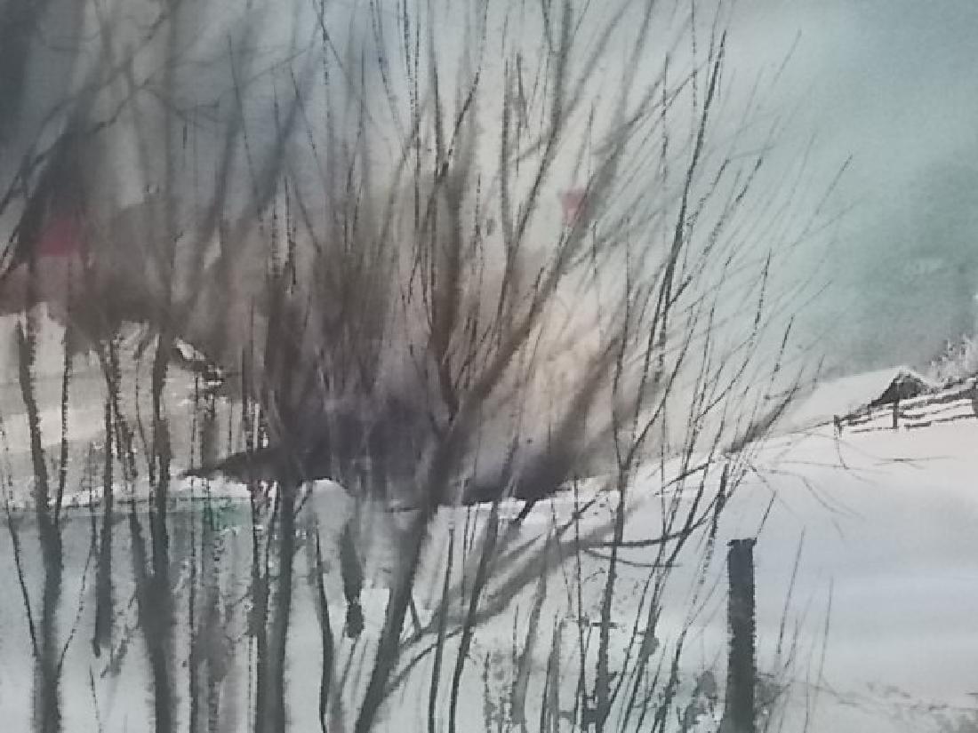 ANTIQUE WATERCOLOR WINTER SCENE PAINTING SCHLOSSER - 3