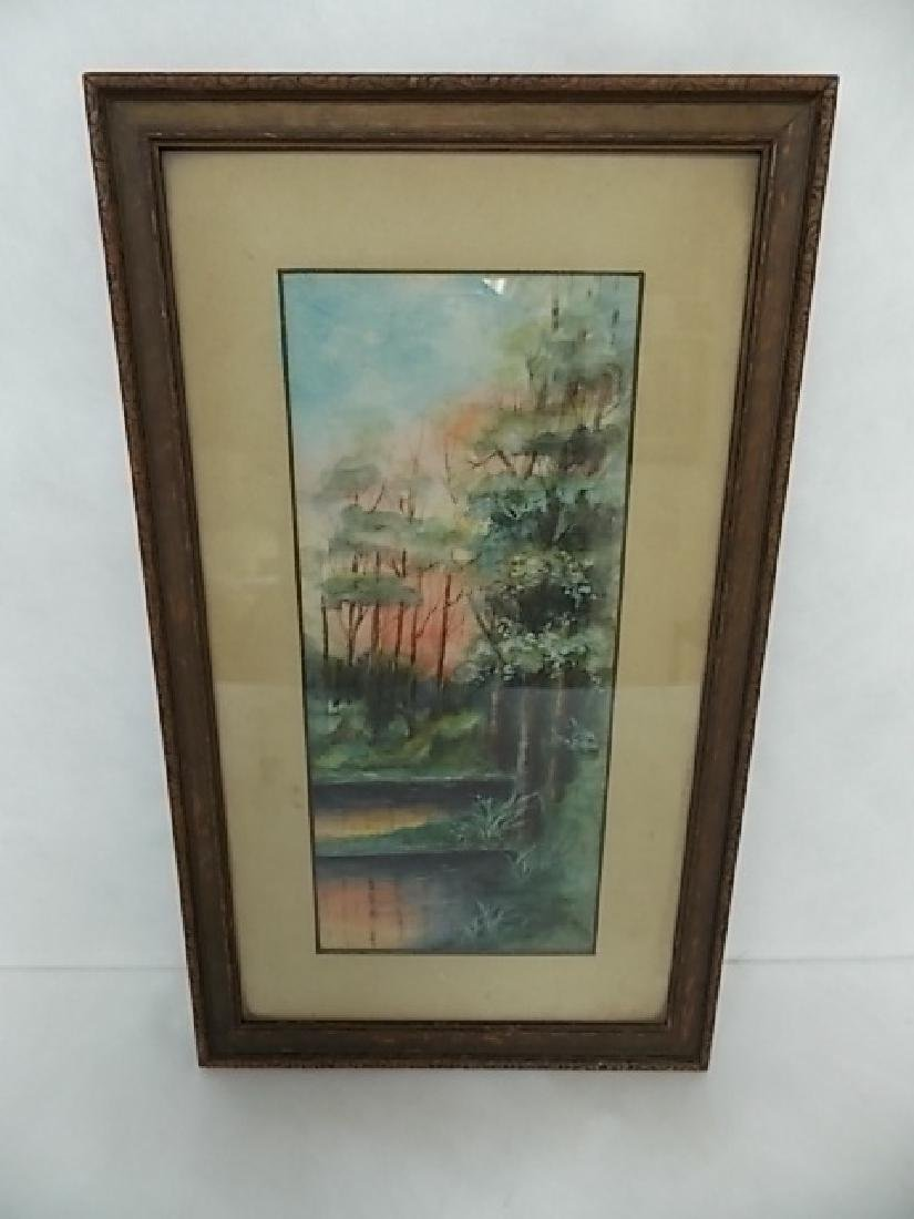 ANTIQUE DECORATIVE WATERCOLOR PAINTING SIGNED