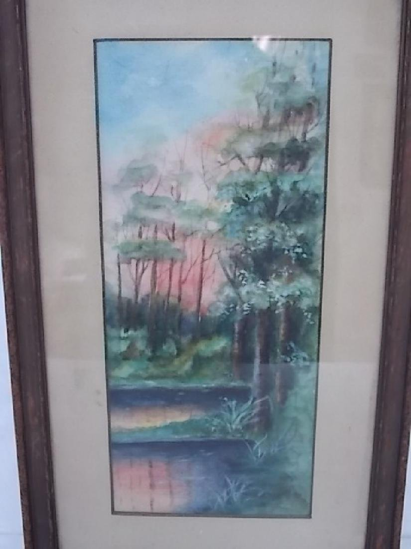 ANTIQUE DECORATIVE WATERCOLOR PAINTING SIGNED - 2
