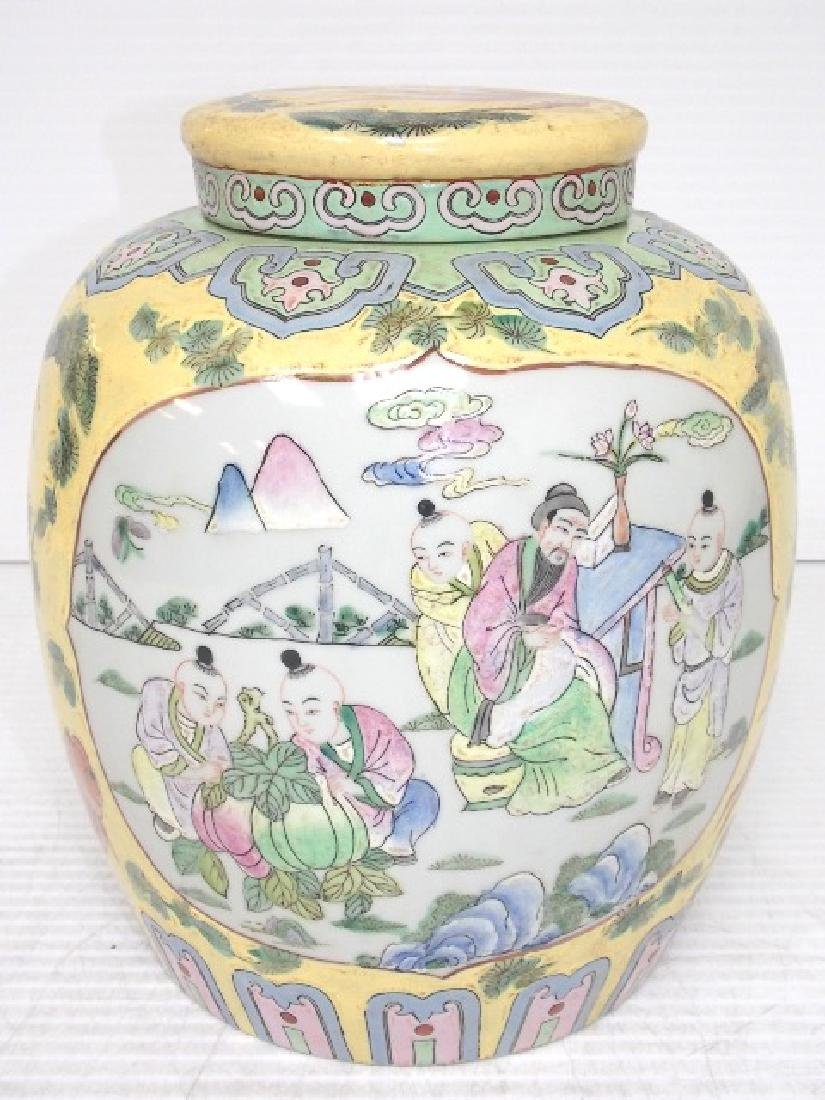 HAND PAINTED CHINESE ROSE FAMILLE TEA CADDY - 2