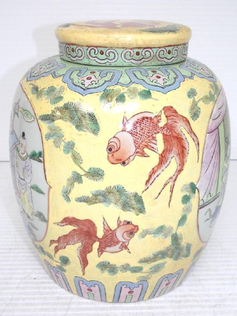 HAND PAINTED CHINESE ROSE FAMILLE TEA CADDY - 3