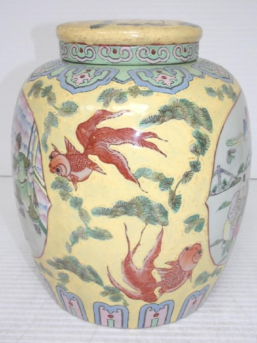 HAND PAINTED CHINESE ROSE FAMILLE TEA CADDY - 4