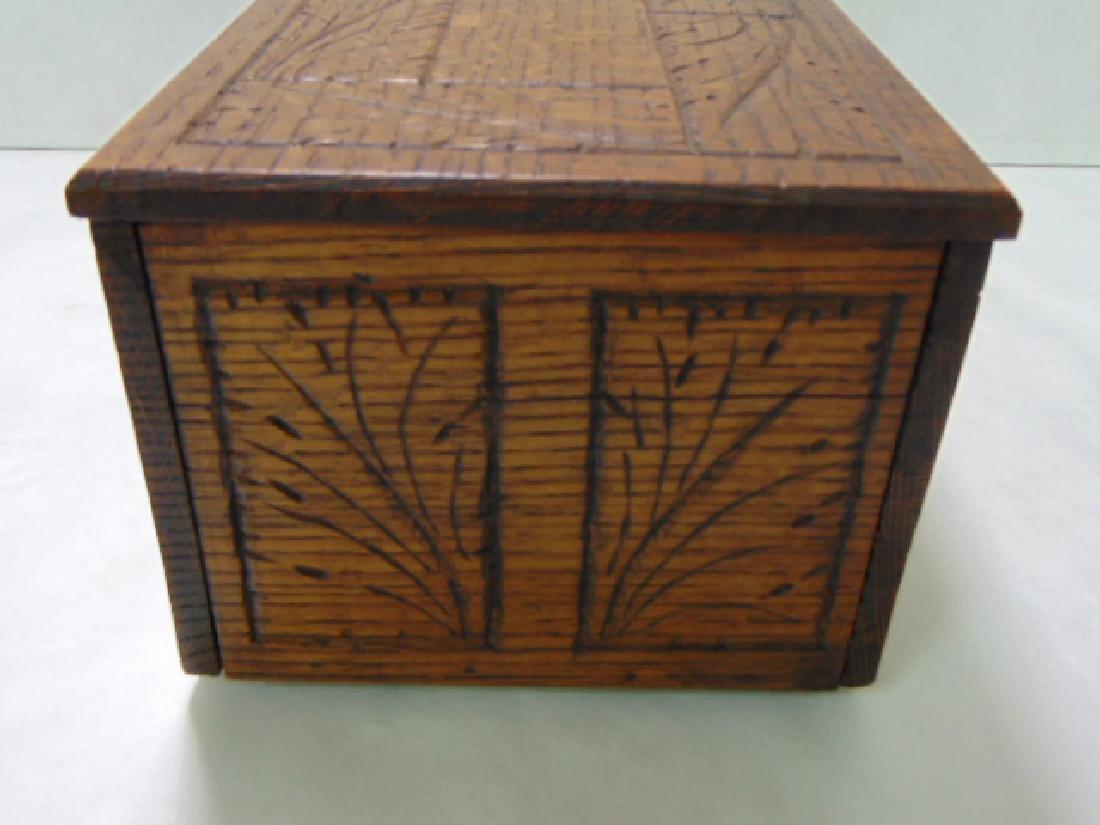VINTAGE WOODEN FOLK ART DOCUMENT BOX - 4