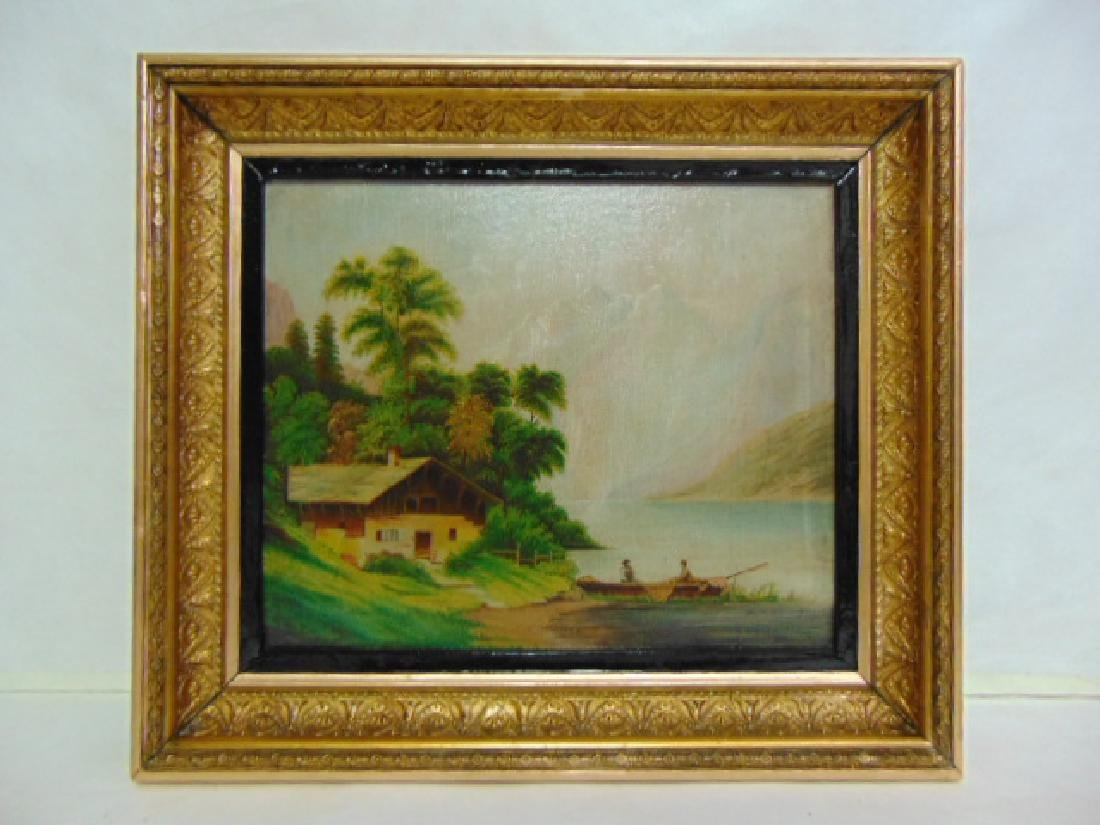 ANTIQUE SCENIC OIL PAINTING ON BOARD