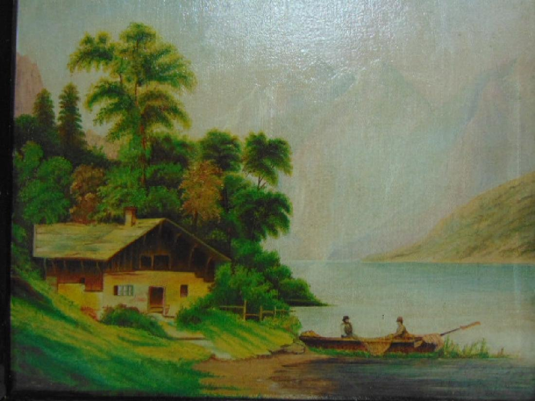 ANTIQUE SCENIC OIL PAINTING ON BOARD - 2