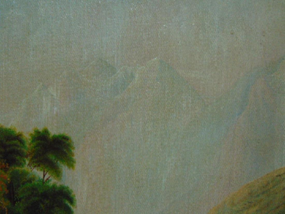 ANTIQUE SCENIC OIL PAINTING ON BOARD - 3