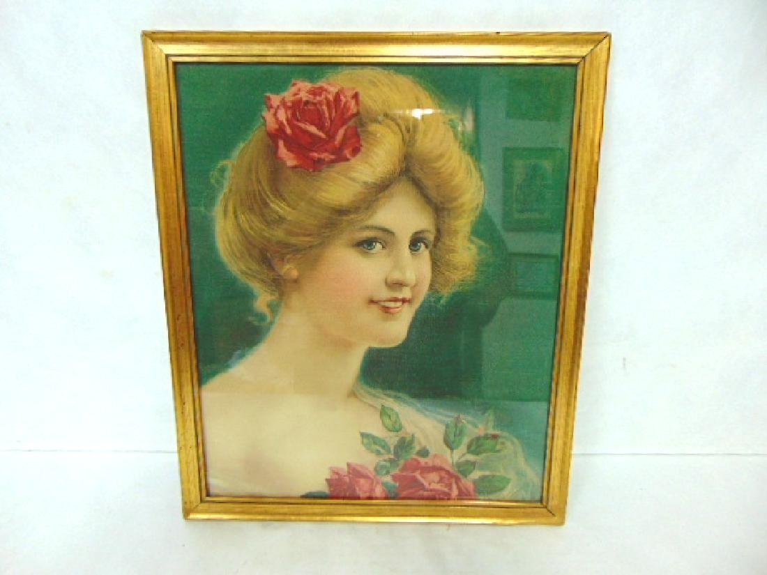 ANTIQUE VICTORIAN PRINT OF WOMAN ON LINEN
