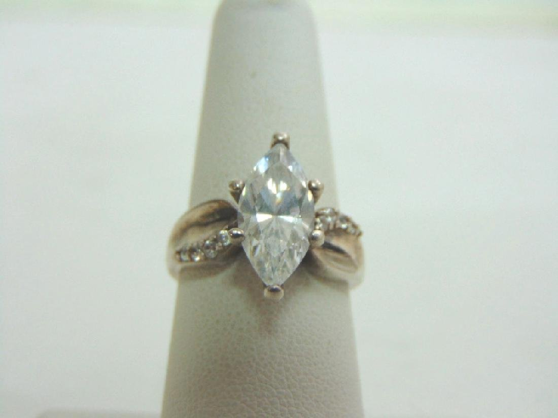 Womens Vintage Estate Sterling Silver CZ Ring 6.1g