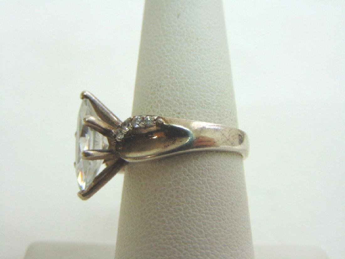 Womens Vintage Estate Sterling Silver CZ Ring 6.1g - 3