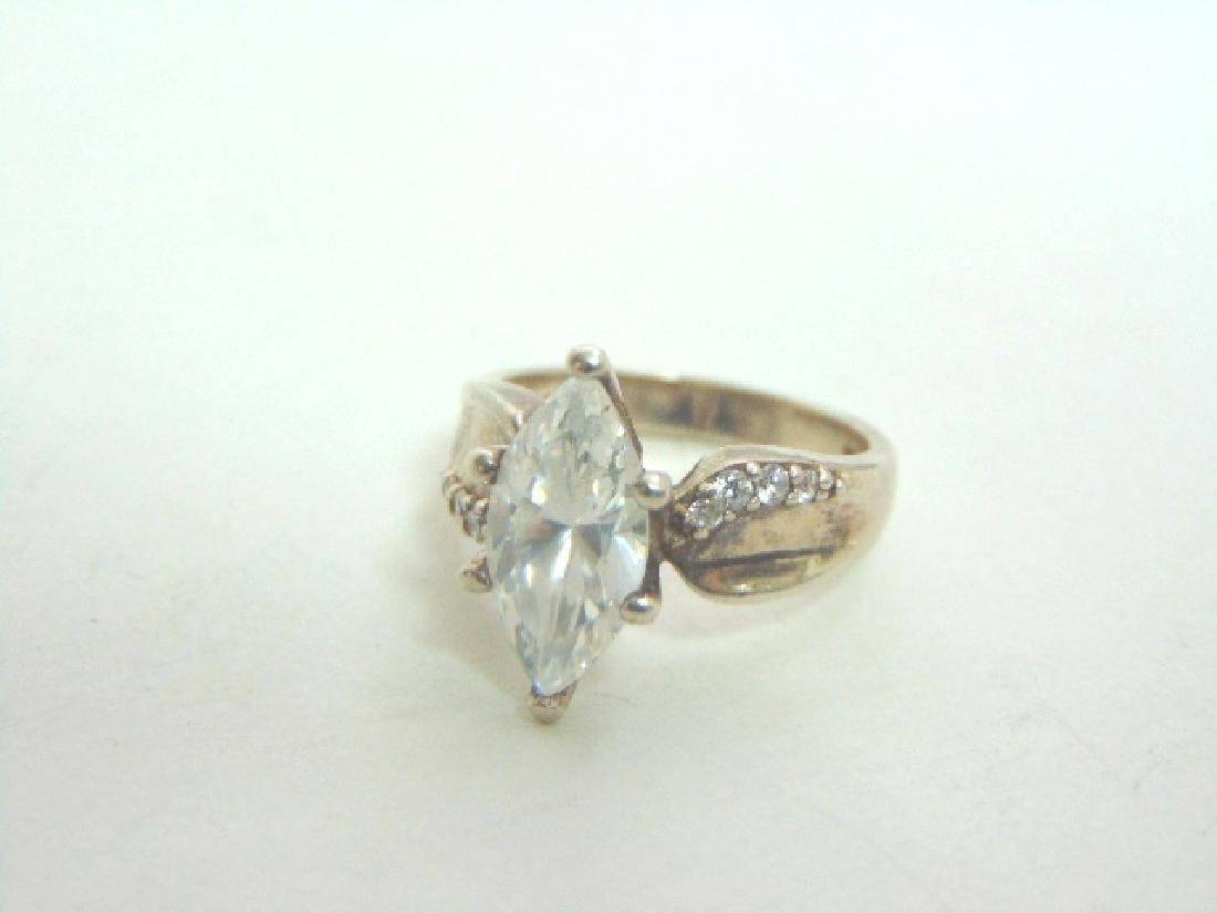 Womens Vintage Estate Sterling Silver CZ Ring 6.1g - 5