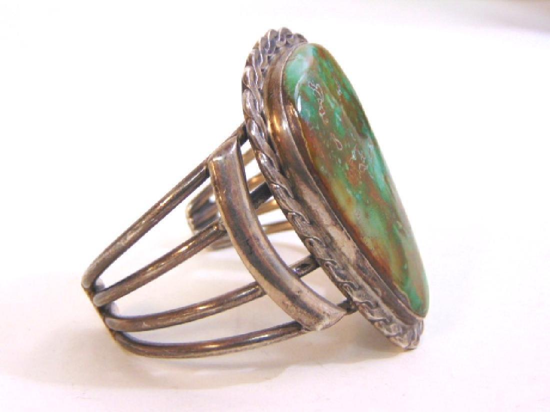 Vintage Sterling Silver Southwestern Cuff Bracelet - 2