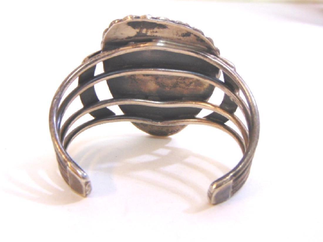 Vintage Sterling Silver Southwestern Cuff Bracelet - 4