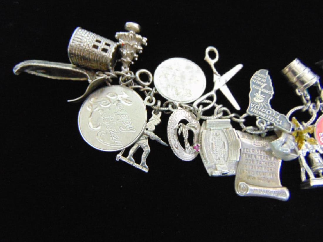Womens Vintage Estate Sterling Silver Charm Bracelet - 4