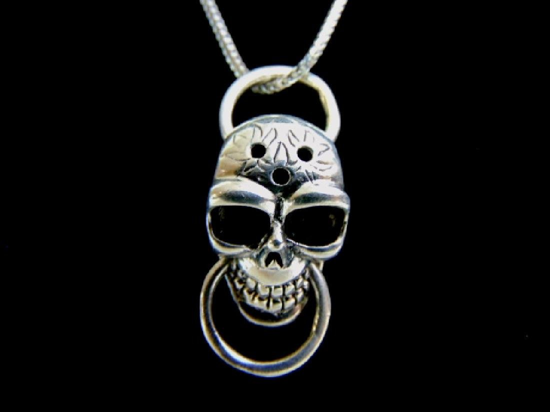 Sterling Silver Gothic Skull Pendant w/ Necklace - 2