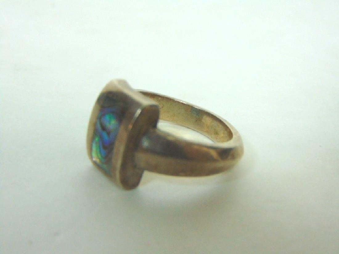 Vintage Sterling Silver & Abalone Shell Ring - 6