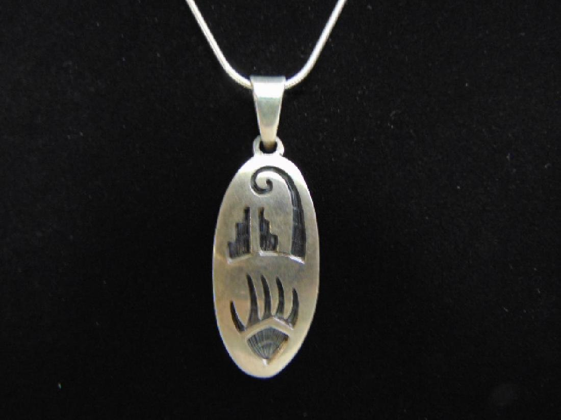 Sterling Silver Necklace W/ Southwestern Pendant - 2