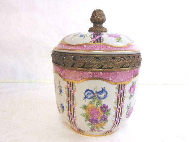 Decorative Victorian Porcelain w/ Bronze Urn Jar