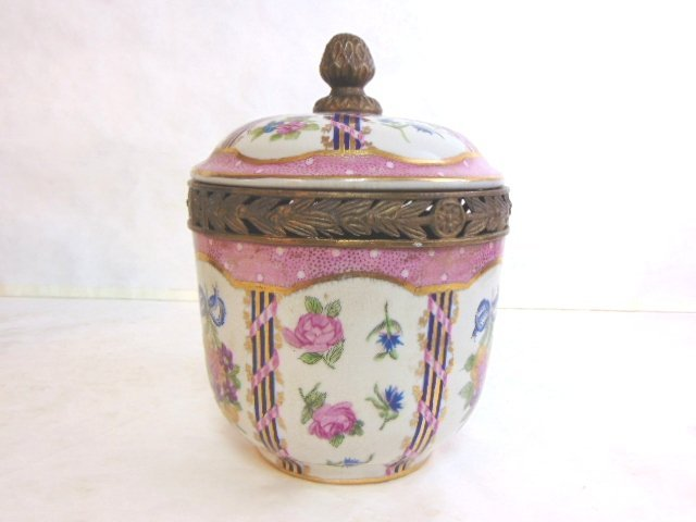 Decorative Victorian Porcelain w/ Bronze Urn Jar - 2