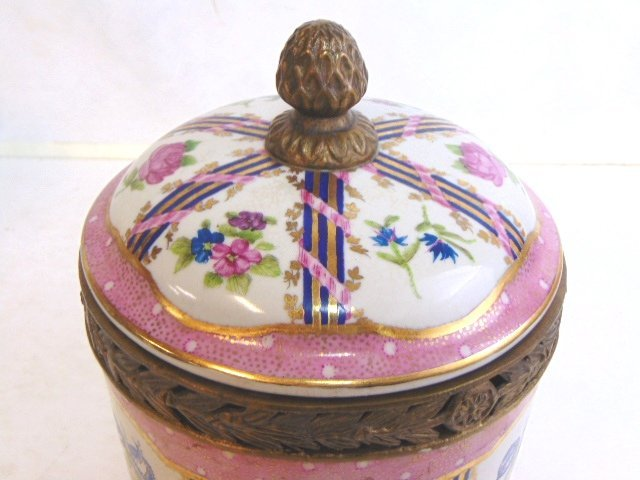 Decorative Victorian Porcelain w/ Bronze Urn Jar - 3