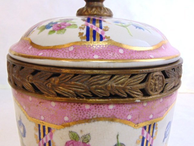 Decorative Victorian Porcelain w/ Bronze Urn Jar - 4