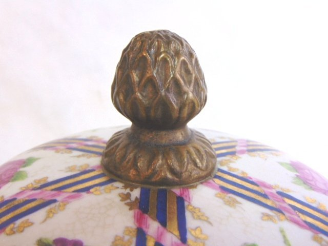 Decorative Victorian Porcelain w/ Bronze Urn Jar - 5