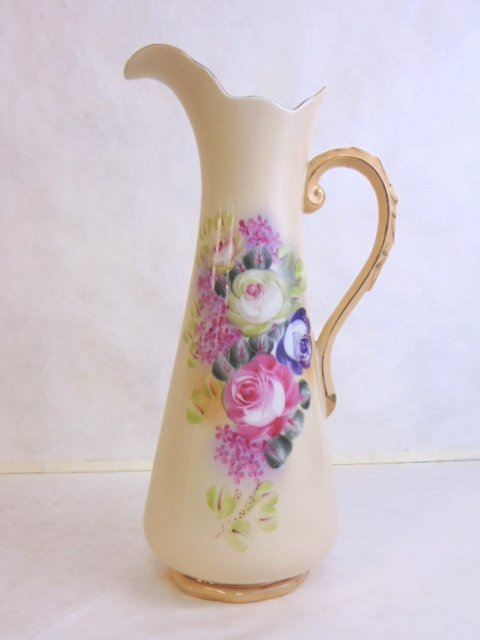 HAND PAINTED PORCELAIN PITCHER WITH FLORAL MOTIF - 2