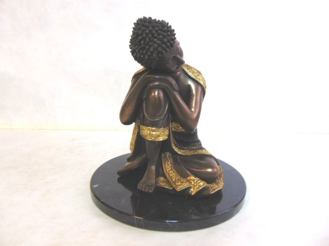 FENG SHUI RESTING BUDDHA STATUE W/ BRONZE FINISH - 2