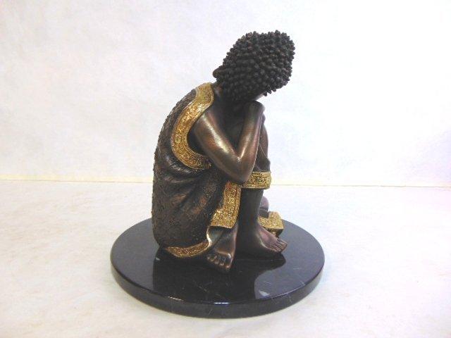 FENG SHUI RESTING BUDDHA STATUE W/ BRONZE FINISH - 3