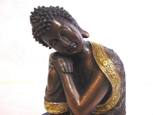 FENG SHUI RESTING BUDDHA STATUE W/ BRONZE FINISH - 5