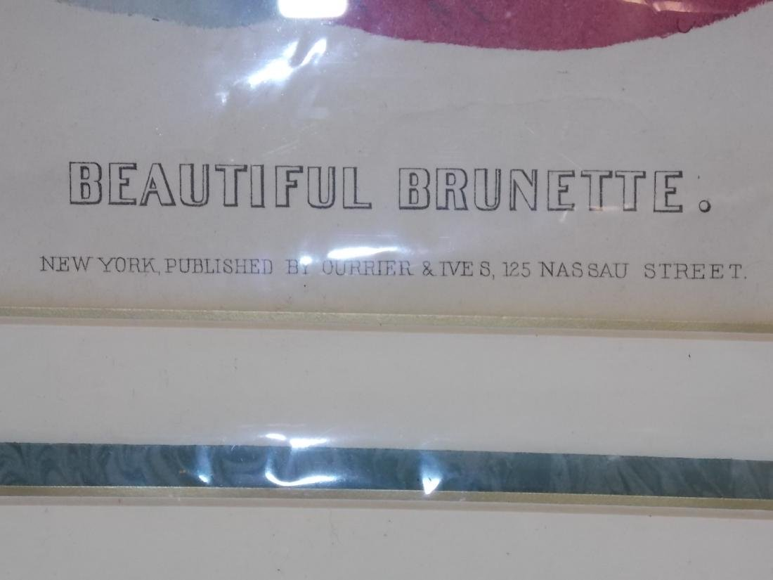 VINTAGE CURRIER & IVES BEAUTIFUL BRUNETTE PRINT - 5