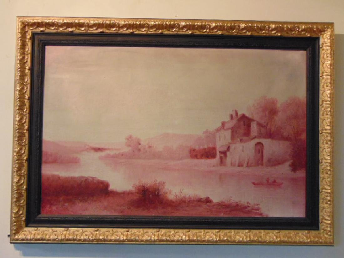 Antique European Oil on Canvas Painting French ? 2 of 2