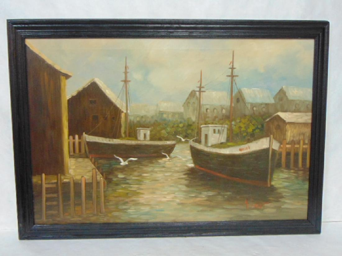 VINTAGE OIL ON CANVAS SEASCAPE PAINTING JEAN AMIOT