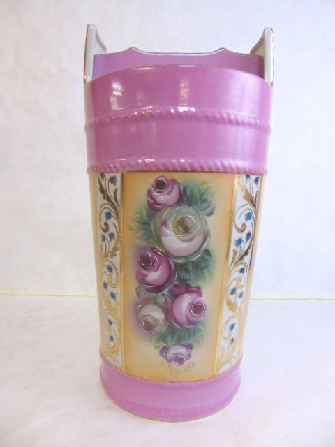 Hand Painted Floral Porcelain Umbrella Vase - 3