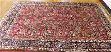 SUPER SEMI ANTIQUE PERSIAN RUG 6.3' x 9.6' RED/NAVY